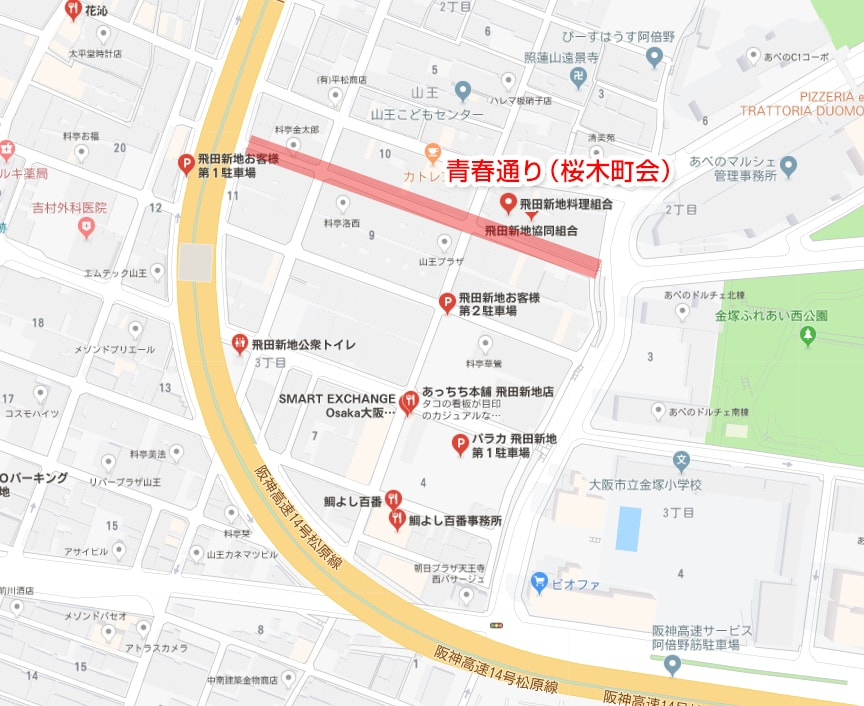 青春通りの場所・地図
