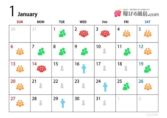 1月の繁忙期 - 繁忙期指数:★★★☆☆
