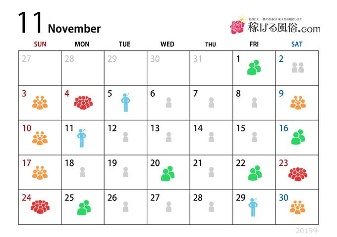 11月の繁忙期 - 繁忙期指数:★★☆☆☆